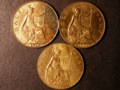 London Coins : A131 : Lot 1520 : Halfpennies (3) 1902 High Tide Freeman 381, 1910 Freeman 389, 1915 Freeman 394 GEF-A/UNC wit...