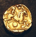 London Coins : A133 : Lot 104 : Stater Early Whaddon Chase.  Au Stater.  C,55-45 BC.  Obv; Wreath motif.  Rev; Horse r&#...