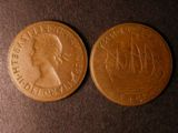 London Coins : A134 : Lot 1688 : Mis-Strikes (2) Halfpenny 1967 Reverse Brockage VF, Elizabeth II Halfpenny Obverse Brockage NVF