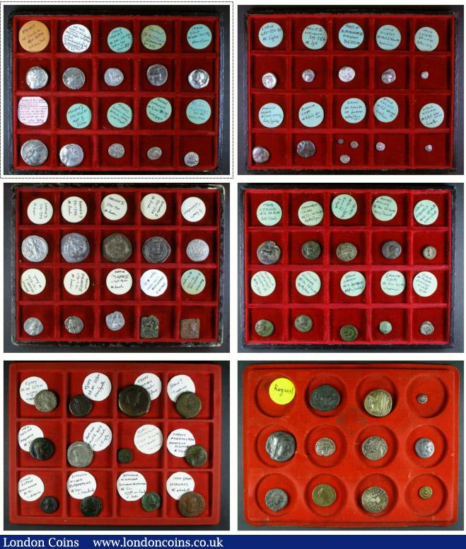 Greek a collection (65) in a small Abafil case including Tetradrachms of Athens, Egypt and Syria, Staters of Italy (4) and Aradus, a Siglos of Lydia, an archaic Drachm of Thasos with other Drachms and silver minors (13); Copper (10); also Parthian (3), Sassanian (5) Silver Drachms, Indo-Greek and Roman Colonial including Tetradrachm of Nero with Tiberius, these all attributed, along with a group of 11 copies. In mixed grades, many VF : Ancient Coins : Auction 138 : Lot 1535