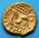 London Coins : A139 : Lot 1546 : Au Stater. Corieltauvi. Domino type. C 60-50 BC. Obv; Wreath motif. Rev; Disjointed horse le...