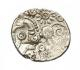 London Coins : A142 : Lot 1742 : Quarter stater Au. Durotriges. Unlisted 'Cogwheel smiler type'. C,55-35 BC. Obv; Two...