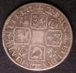 London Coins : A143 : Lot 2215 : Shilling 1721 21 over 19 Roses and Plumes in correct angles S.3645 VG Rare
