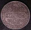 London Coins : A144 : Lot 1643 : Halfcrown 1745 Roses 5 over 3 ESC 604A Fine/Good Fine