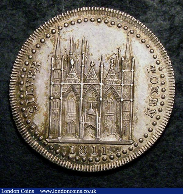 Eighteen Pence 19th Century Northampton Peterborough 1811 Cole &co. Davis 3 with view of a cathedral GEF and nicely toned over mint lustre, rare : Tokens : Auction 144 : Lot 902