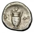 London Coins : A145 : Lot 1205 : Stater Ar. Thebes.  Boeotia.  C, 395-338 BC.  Obv; Boeotian shield.  Rev; Amphora, bunch of grapes a...