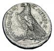 London Coins : A145 : Lot 1210 : Tetradrachm Ar.  Ptolemy V.  C, 204-180 BC.  Rev; Eagle standing l on thunderbolt. GCV 7856.  Slight...
