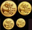 London Coins : A145 : Lot 463 : China Peoples Republic Gold Panda set 1982 a 4-coin set comprising Gold Ounce 1982 Proof X#MB11, Hal...