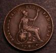 London Coins : A146 : Lot 2208 : Farthing 1845 Large Date unlisted by Peck known to be very rare, Fine