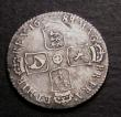 London Coins : A146 : Lot 2360 : Shilling 1688 8 over 7 ESC 1074 Fine with some old scratches on the reverse, rated only R2 by ESC, h...
