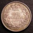 London Coins : A146 : Lot 3396 : Shilling 1860 ESC 1308 8 over lower 8 in date Choice UNC with a deep golden tone