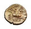 London Coins : A147 : Lot 1804 : Stater Au. Catuvellauni.  Tasciovanus.  C, 1st century BC/AD.  Obv; Crescents in wreath.  Rev; Horse...