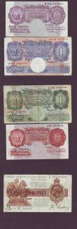 London Coins : A147 : Lot 30 : Bank of England in small folder (11) includes Beale white £5 dated 1950, Bradbury £1 Tre...