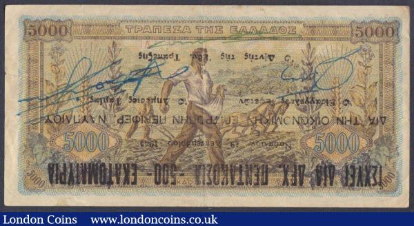Greece 500,000,000 drachmai dated 19.9.1944 series ΑΠ 406686, Pick162, Provisional Treasury issue NAUPLIA (ovpt on Pick119), 1cm edge tear, Fine+ and a Rare key note (only 1000 notes issued from series ΑΠ 406001 to 407000). : World Banknotes : Auction 148 : Lot 254