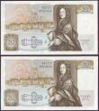 London Coins : A149 : Lot 178 : Fifty pounds Somerset B352 (2) issued 1981, a consecutively numbered pair first series A01 030799 &a...