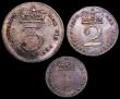 London Coins : A149 : Lot 2318 : Maundy Part set 1818 (3 coins) Threepence, Twopence and Penny EF to GEF with matching tone