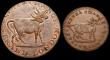 London Coins : A149 : Lot 796 : Farthing Middlesex undated Pidcocks, Two-headed Cow DH1066 EF with a small spot, Halfpenny Middlesex...