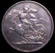London Coins : A150 : Lot 1940 : Crown 1893 LVI Davies 503d - dies 1+G. A scarce rev. variety with the streamer somewhat similar to r...