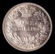 London Coins : A151 : Lot 1611 : Shilling 1865 ESC 1313, Die Number 92, CGS type SH.V1.1865.01, A/UNC and lustrous, the obverse with ...