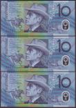 London Coins : A151 : Lot 182 : Australia $10 (3) issued 2008, a consecutively numbered trio, series DC08546518 to DC08546520, Steve...