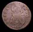 London Coins : A151 : Lot 2323 : Farthing 1698 Date in Exergue, B over G in BRITANNIA Peck 664 VG Extremely Rare, Ex-B.McRoberts coll...