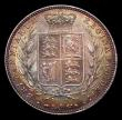 London Coins : A151 : Lot 2640 : Halfcrown 1874 ESC 692 GEF colourfully toned with a contact marks on the Queen's jawline