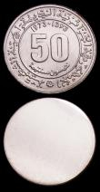 London Coins : A151 : Lot 853 : Algeria 50 Centimes 1973 Obverse and Reverse uniface trial pair, design as KM#102, struck in silver ...