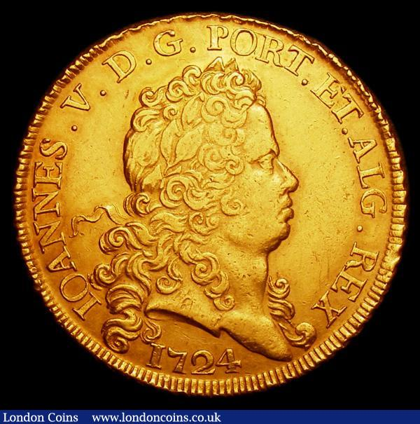 Portugal 8 Escudos 1724 KM#222.1 Friedberg 84 NVF with some light contact marks in the reverse field, extremely rare and unpriced by Krause, : World Coins : Auction 152 : Lot 1285