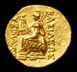 London Coins : A152 : Lot 1918 : Parthia Gold Stater Mithridates VI 120-63 BC Tomis Mint HA in front of Athena obv Diademed Head of A...