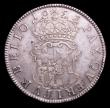 London Coins : A152 : Lot 2527 : Crown 1658 8 over 7 Cromwell, die break at its middle stage, Fine/Good Fine the obverse with some ha...