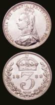 London Coins : A153 : Lot 2337 : Threepences (2) 1889 ESC 2099 Lustrous UNC and choice, 1891 ESC 2101 Lustrous UNC with a hint of ton...