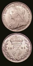 London Coins : A153 : Lot 2338 : Threepences (2) 1890 ESC 2100 UNC with lustre, 1901 ESC 2113 UNC with a few small rim nicks