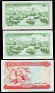 London Coins : A153 : Lot 416 : Singapore (3) 10 Dollars 1967-1973 issue with red seal Pick 3d, Near EF, Five Dollars (2) 1967-1973 ...