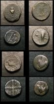 London Coins : A154 : Lot 1499 : A small collection of Greek bronzes and silver fractions.  Old collection coins with original hand w...