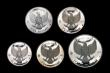 London Coins : A154 : Lot 511 : Indonesia Proof Set 1970 (5 coins, in silver) KM#PS2 comprising 1000 Rupiah KM#27, 750 Rupiah KM#26,...