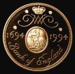 London Coins : A155 : Lot 224 : Two Pounds 1994 Bank of England Tercentenary formerly S.4314 Gold Proof the rare mule with the obver...