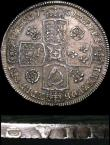 London Coins : A155 : Lot 607 : Halfcrown 1731 Roses and Plumes, also Q of QVINTO rotated 90 degrees clockwise, this type unlisted b...