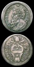 London Coins : A156 : Lot 1280 : Italian States - Papal States Grosso undated (1714) XV Obverse: Bust of St. Paul KM#754 VF toned, Sa...