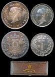 London Coins : A156 : Lot 2435 : Maundy Set 1877 ESC 2490 EF to A/UNC with matching colourful tone, the Fourpence and Penny with some...