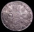 London Coins : A156 : Lot 2598 : Shilling 1714 4 over 3 Roses and Plumes Bull 1413, as ESC 1161 aEF toned, listed as R3 by Bull, grad...