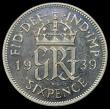London Coins : A156 : Lot 2817 : Sixpence 1939 VIP Proof/Proof of record Davies 2192P, Bull 4226, listed by Bull as R6 but also state...