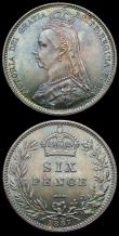 London Coins : A156 : Lot 3574 : Sixpences (2) 1887 Jubilee Head Withdrawn type, R over I in VICTORIA, Bull 3265, Davies 1152, 1887 J...