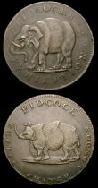 London Coins : A156 : Lot 780 : Halfpennies 18th Century Middlesex (2) Pidcock's undated Elephant/Two-headed cow DH422 NEF, Pid...