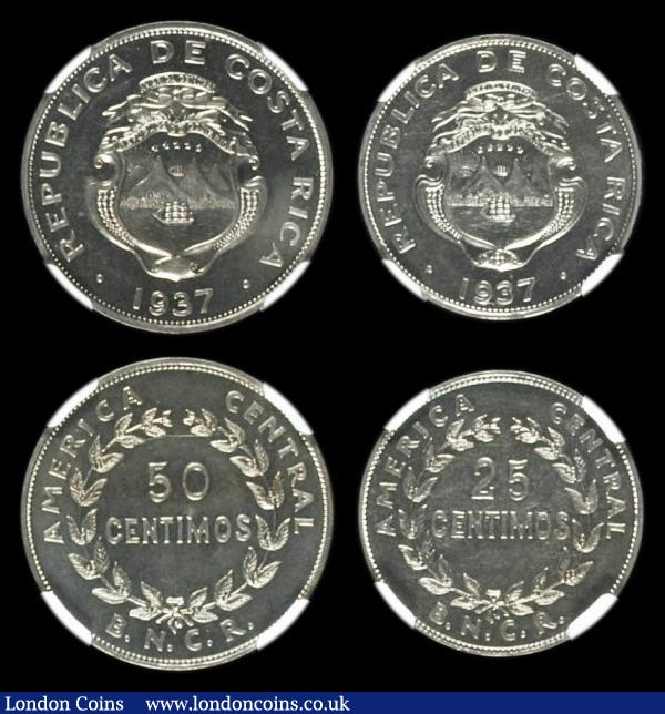 Costa Rica VIP Proofs/Proofs of record 1937 a 3-coin set comprising 1 Colon 1937 KM#177 in an NGC holder and graded PF66, 50 Centimos 1937 KM#176 in an NGC holder and graded PF65, 25 Centimos 1937 KM#175 in an NGC holder and graded PF65, an extremely rare set, we note a similar set with the 50 Centimos and 25 Centimos in lesser grades realised $3525 at Heritage in April 2014  : World Coins : Auction 157 : Lot 1378