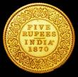 London Coins : A157 : Lot 1462 : India Five Rupees 1870 Milled Edge Gold Proof FDC in the original H.M.'s Mint, Calcutta envelop...