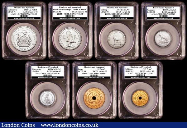 Rhodesia and Nyasaland Proof Set 1955 a 7-coin set in cupro-nickel and copper, KM#PS1 Halfcrown to Halfpenny in LCGS holders comprising Halfcrown 1955 slabbed and graded LCGS 91, Florin 1955 slabbed and graded LCGS 90, Shilling slabbed and graded LCGS 90, Sixpence 1955 slabbed and graded LCGS 88, Threepence slabbed and graded LCGS 88, Penny 1955 slabbed and graded LCGS 90, Halfpenny 1955 slabbed and graded LCGS 90 Very Rare with a mintage of just 10 sets nFDC with light toning, in the blue case of issue, listed at $2500 by Krause : World Coins : Auction 157 : Lot 1582