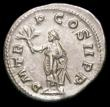 London Coins : A157 : Lot 1716 : Balbinus.  Ar denarius.  C, 238 AD.  Rev;  P M TR P COS II P P, emperor standing facing, head left, ...