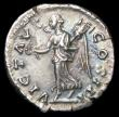 London Coins : A157 : Lot 1782 : Marcus Aurelius.  Ar denarius.  C, 170 AD.  Rev; VICT AVG COS III; Victory advg l hldg wreath and pa...
