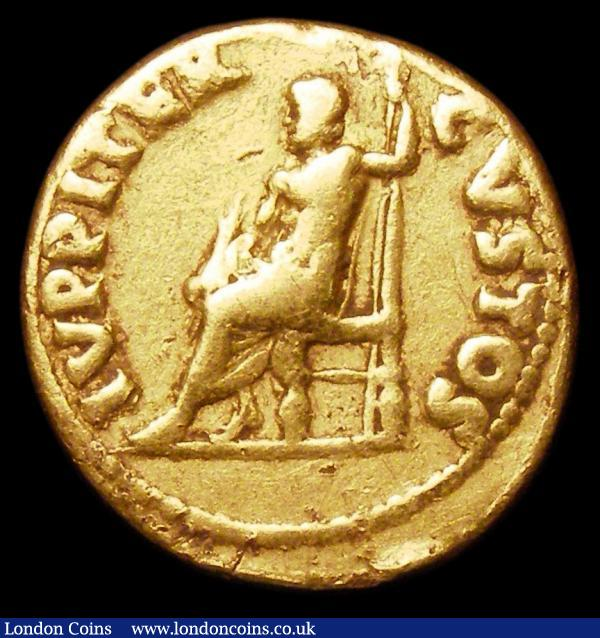 Nero.  Au aureus.  C, 64-65 AD.  Rev;  IVPPITER CVSTOS; Jupiter seated l., holding sceptre and thunderbolt. RIC 52.  Gritty surface marks on bust.  7.14g.  G Fine : Ancient Coins : Auction 157 : Lot 1800