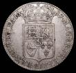 London Coins : A157 : Lot 2380 : Halfcrown 1689 First Shield, Caul and interior frosted, with pearls, Second L in GVLIELMVS struck ov...